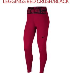 NWT NIKE Pro High  waisted training pants red L